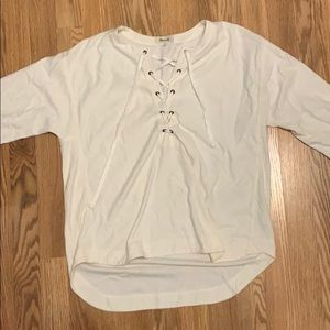 MADEWELL Cream quarter length sleeve laced shirt